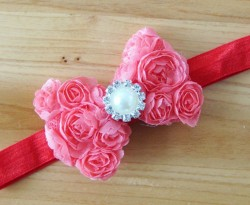 Attractive Fashionable Red headbands for Girls with Flower Bow