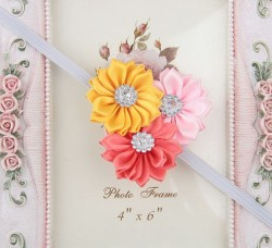 Buy Online Pink and Yellow Floral Infant Headband with Three Beautiful Flowers