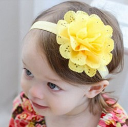 Gorgeous Yellow headband for Toddlers in India with Designer Net Flower