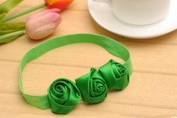 Comfortable Green Headband With Flower Setting