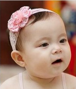 Beautiful Baby Pink Net Headband with Rose Flower and Pearl for Infant Girls