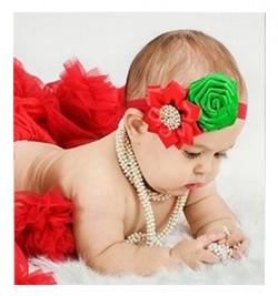 Red Green Rose Flowers Floral Newborn BabyGirl soft Headband