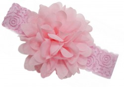 Beautiful Baby Pink Designer Net Headband with Flower for Toddlers in India