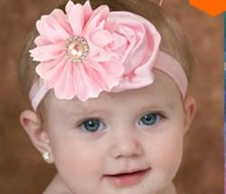 Newborn Rose soft Lace LightPink Flower Headband.Kids Hair Accessory
