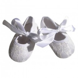 Designer Soft Sole White Birthday Baby Girl Shoes With Bow