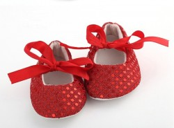 Fashionable Baby Girl Shoes in Red for Weddings and Parties with Sparkling Sequins