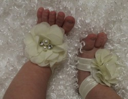 Newborn Cream Diamond Pearl Flowers Barefoot Sandals  shoes lace