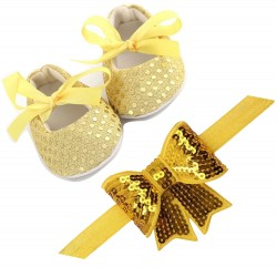 Sparkly/glitter sequin bowknot elastic Newborn Soft Headband and Soft Soled Sparkly Sequins non slip BabyGirl Crib Shoe set.