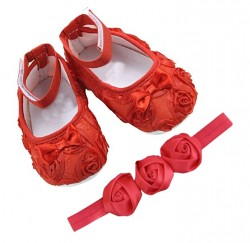 Satin fabric rosettes crib shoes with super shiny satinf 3 rosset headband (. Red )