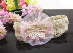 Soft Elastic Lace Chiffon Pink Flower  Newborn BabyGirl Headband
