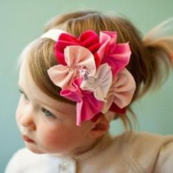 Newborn Soft Cotton white Flower Bunch Headband. Baby Hair Accessory