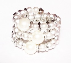 Classy White And Silver Pearl Beads With Diamond