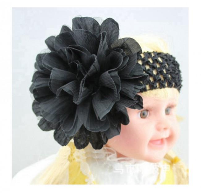 115fcd1071 Shop Online Crochet Headbands with Baby Black Flower for Newborn Girls ·  Zoom